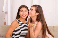 Skvaller för två flickor på grå bakgrund royaltyfri foto