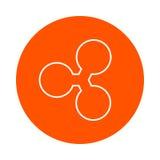 Skvalpa den crypto valutabilden, den runda monokromma linjära symbolen, enkel färgändring Arkivfoto