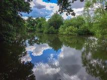Sky's спокойного озера голубые заволакивают зеленый пруд пульсаций сельской местности воды деревьев стоковое фото