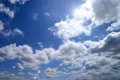 Sky. Blue sky with beautiful bright clouds royalty free stock image