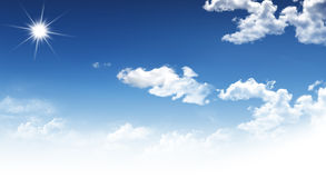 Sky. Bright sun  with white cloud on background blue sky Stock Photo
