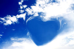 Sky. Heart Shaped Cloud on Blue Sky Royalty Free Stock Images