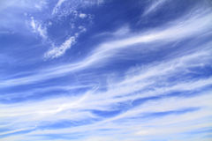 Sky. View on the blue sky with white streaks, clouds royalty free stock image