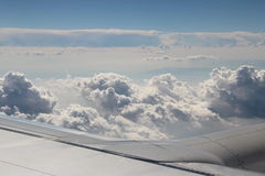 Sky. Curly-headed clouds, beautiful sky, plane Royalty Free Stock Photo