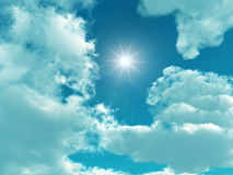Sky. Blue sky with white clouds - digital artwork stock photos