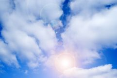 Sky. Beautiful blue sky and sun background stock photo