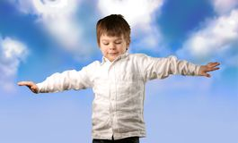 Sky 50. A portrait of a child with sky back Royalty Free Stock Photos