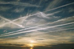 Sky. With clouds and plane trails Royalty Free Stock Images
