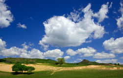 Sky. Desert and meadow with blue sky,Inner Mongolia,china Royalty Free Stock Photo