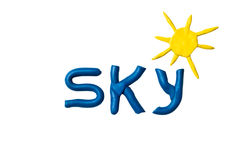 Sky. Plasticine word isolated on a white background Royalty Free Stock Photo