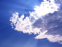 Sky. Sun hidden by the clouds stock images
