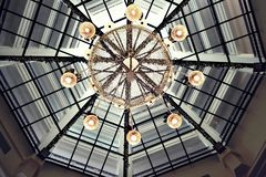 Sky Above Ceiling Lights. Ceiling Lights With a Certain Movie Effect Stock Photography