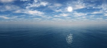 Beautiful sky with clouds and the sun above the sea stock photos