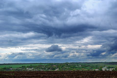 The sky above Ukrainian steppe before thunderstorm Stock Photography