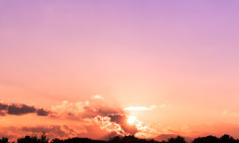 Sky. Abstract colorful sky,pink and orange light in sky with red and black cloud, Mountain background Stock Photos