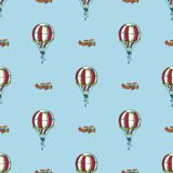 Sky Adventute. Simple Regular Seamless Vector Pattern. Red and White Balloons and Old Airplanes in the Blue Sky vector illustration