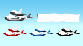 Sky advertising, shuttle carrier with blank banner. Sky advertising, shuttle carrier aircraft with blank banner, different colors, vector illustration Stock Photo