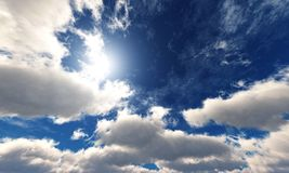Beautiful sky with clouds and the sun. stock images