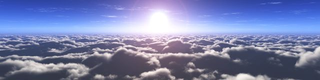 Beautiful sky with clouds and the sun stock photos