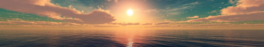 Beautiful sky with clouds and the sun over the sea. stock photos