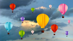 Sky with air balloons. Theme royalty free stock photo