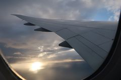 Sky Airplane Clouds Wing royalty free stock photos