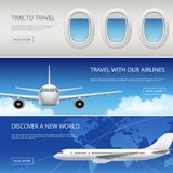 Sky airplane tourism banners. Civil aviation pictures of blue sky and aircraft windows wings vector illustrations place. For your text. Web banner page aviation royalty free illustration