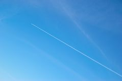 Sky with airplane track Royalty Free Stock Photography