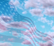 Sky with American flag texture Stock Photos
