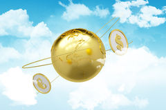 Sky. arrows around planet earth and world currency Stock Photography