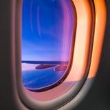 Sky as seen through window of an aircraft Royalty Free Stock Photo