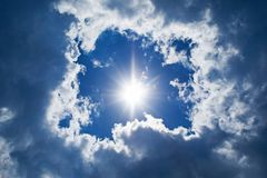 Sky background. Sun and clouds background Royalty Free Stock Photos