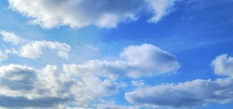 Sky background blue panoramic meteo cloudy environment weather. Blue sky clouds panoramic nature meteo weather background Royalty Free Stock Photo
