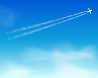 Sky background. Cloud. Airplane Royalty Free Stock Photo