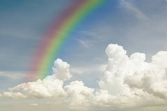 Sky background with cloudy scene (Summer day sky) and rainbow Royalty Free Stock Images