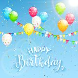 Text Happy Birthday and decoration on sky background. Sky background with colorful balloons, pennants and confetti. Text Happy Birthday, illustration Royalty Free Stock Photography