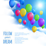 Sky Background with Colorful Balloons. Stock Photos