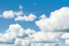 Sky background. Dramatic cloudy sky clouds - natural blue cloudy sky landscape Stock Images