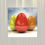 Sky background easter card frame with eggs Royalty Free Stock Photo