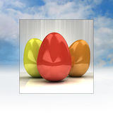Sky background easter card frame with colorful eggs Royalty Free Stock Image