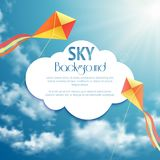 Sky background with kites Stock Photography