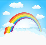Sky background with rainbow and clouds Stock Images