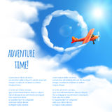 Sky Background with Red Airplane. Stock Images