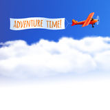 Sky Background with Red Airplane. Royalty Free Stock Photos
