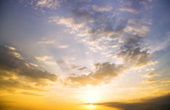 Sky background and sea on sunset. Stock Images