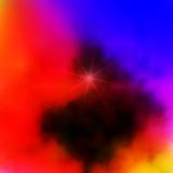 Sky background with star. Sky background in red, blue, violet and yellow hues with star. Abstract image and design Royalty Free Stock Photos