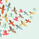 Sky background with stylized color flying birds Stock Photos