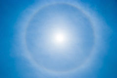 Sky background with sun circular halo Stock Images