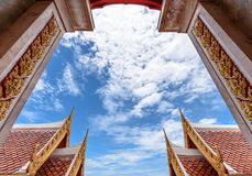 Sky background on thai style buildings Royalty Free Stock Image