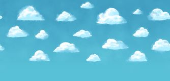 Sky background - tiled seamless texture - blue sky white clouds Stock Photos